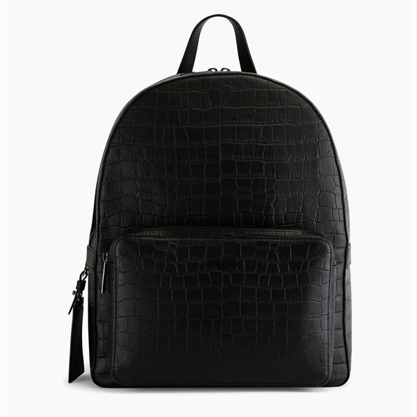 Zipped Emile crocodile embossed leather backpack - Le Tanneur