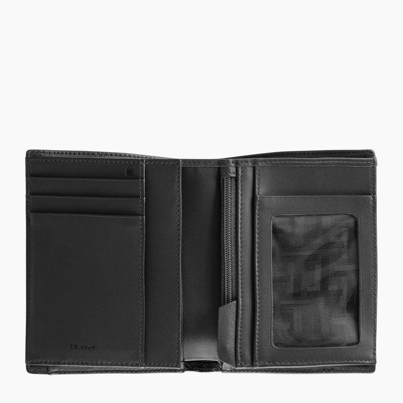Emile vertical zipped 2 flap leather monogram wallet - Le Tanneur