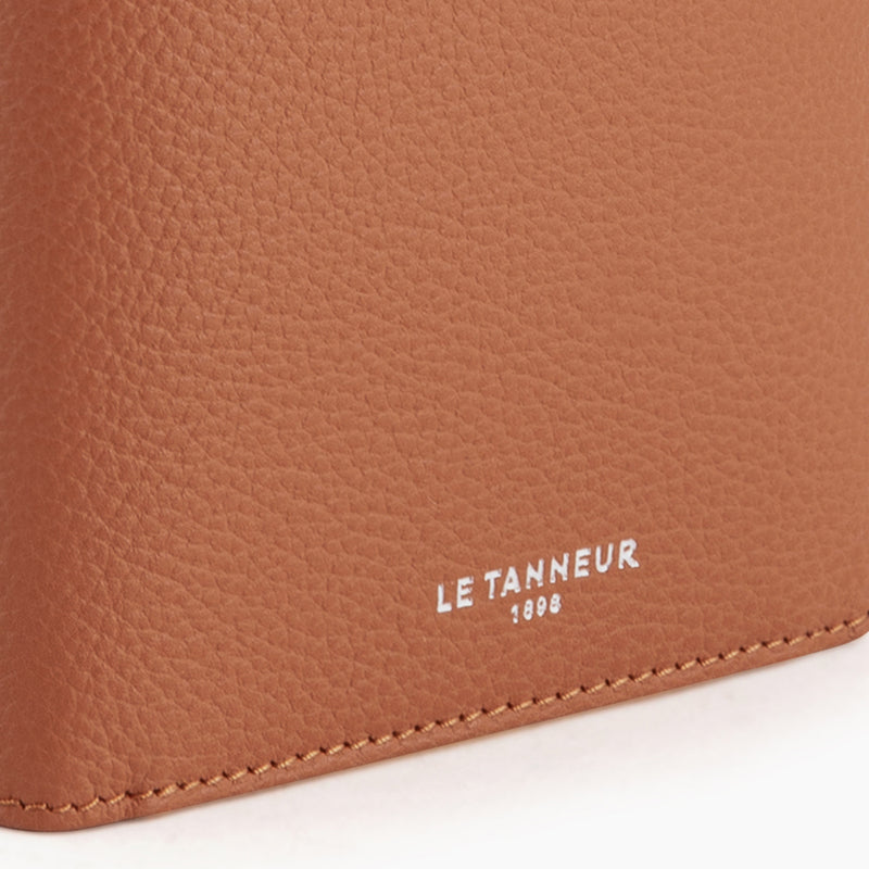 Vertical zipped wallet 2 flaps Emile pebbled leather - Le Tanneur