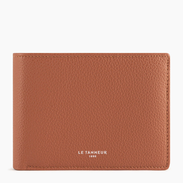 Emile 2 flap wallet pebbled leather  - Le Tanneur