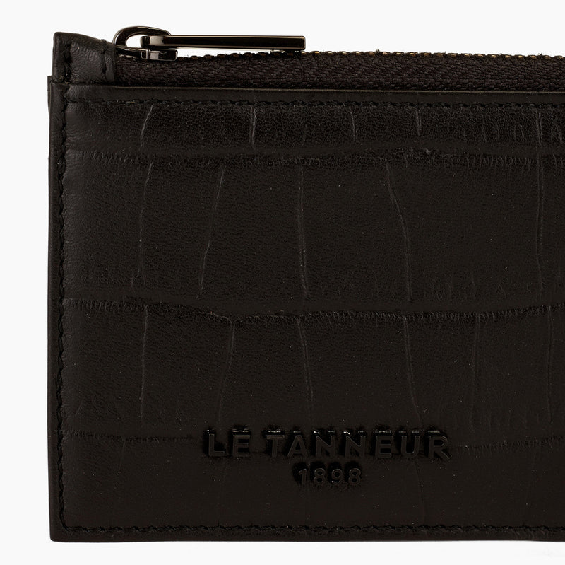 L-zip Emile crocodile embossed leather cardholder - Le Tanneur