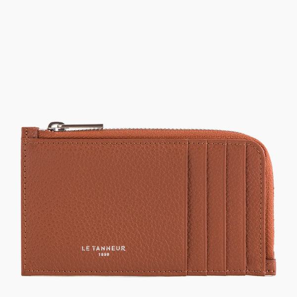 Emile pebbled leather large zipped card case - Le Tanneur