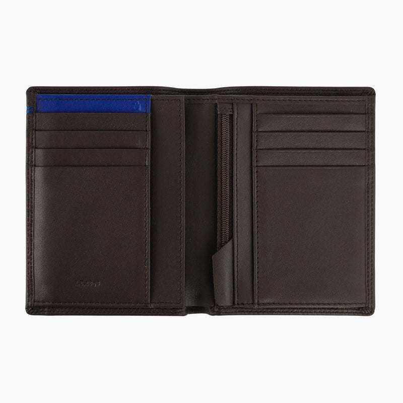 Vertical wallet medium model zipped 2 flaps Martin smooth leather - Le Tanneur