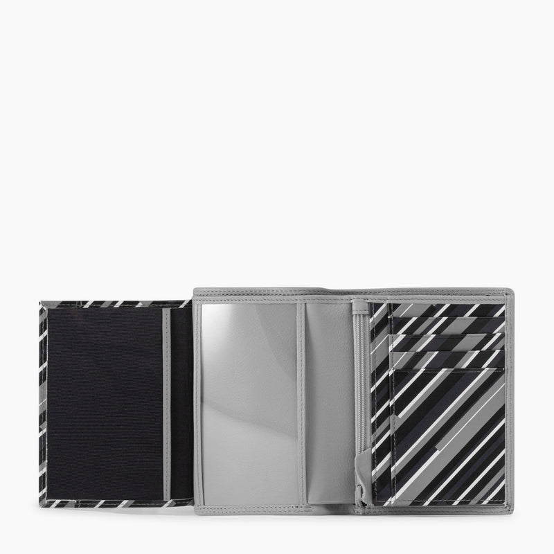 Vertical 2 flap wallet with zipped coin pocket Martin smooth leather - Le Tanneur
