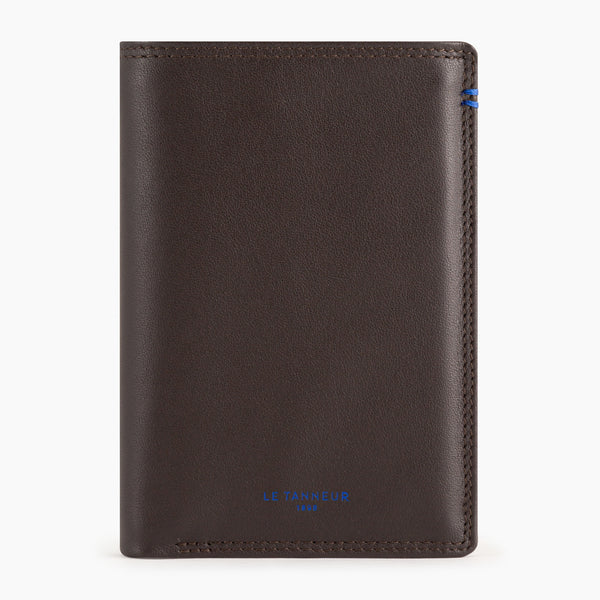 Vertical zipped wallet 2 flaps Martin smooth leather - Le Tanneur