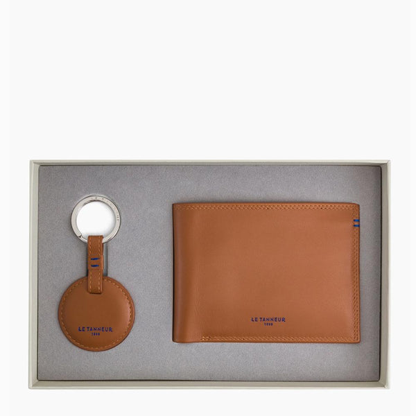 Gift box: key ring and zipped wallet 2 flaps Martin smooth leather brown - Le Tanneur