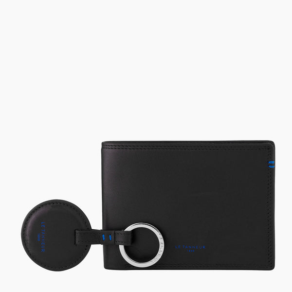 Gift box: key ring and zipped wallet 2 parts Martin smooth leather - Le Tanneur