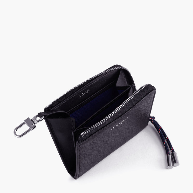 Nathan pebbled leather L-shaped zip wallet - Le Tanneur