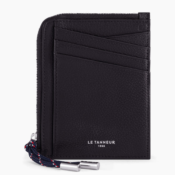 Card case with Nathan pebbled leather coin pocket - Le Tanneur