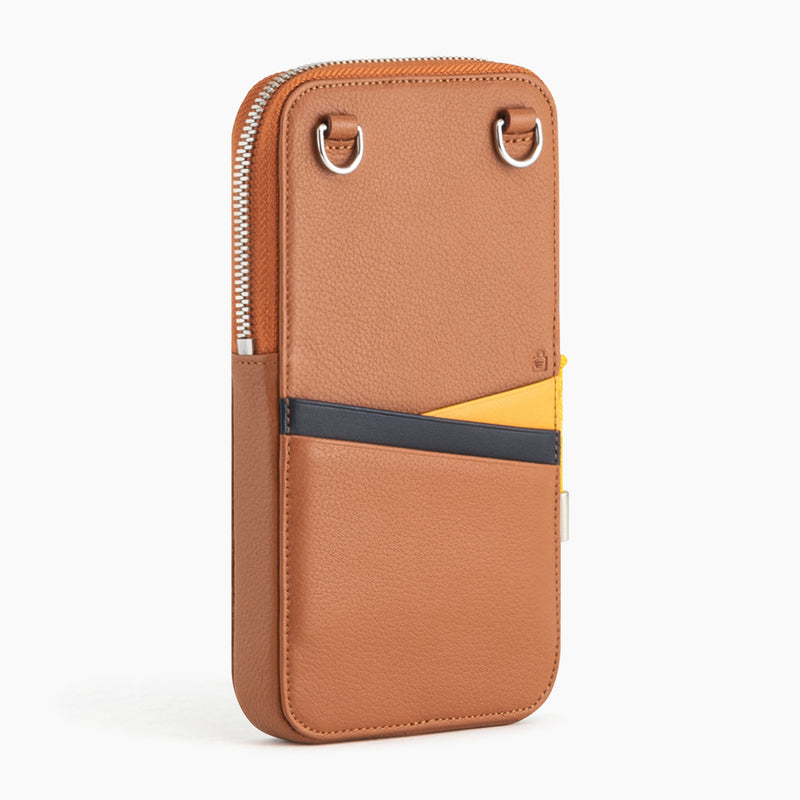Nathan pebbled leather zippered phone pouch - Le Tanneur