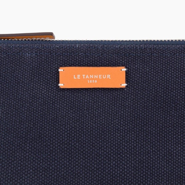 Medium clutch bag model Léo in cotton canvas - Le Tanneur