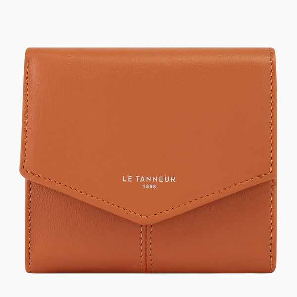 Small wallet: bills, cards, change, zipped Charlotte smooth leather - Le Tanneur