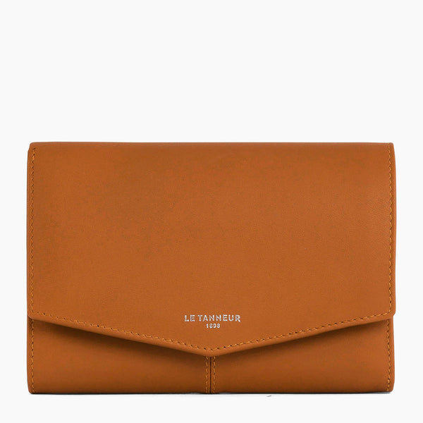 Medium wallet model: banknotes, cards, coins, zipped Charlotte smooth leather - Le Tanneur