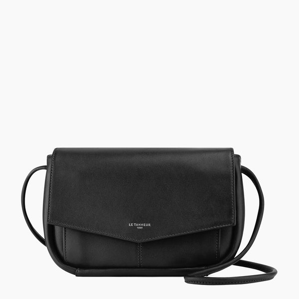 Charlotte smooth leather clutch bag with removable shoulder strap - Le Tanneur