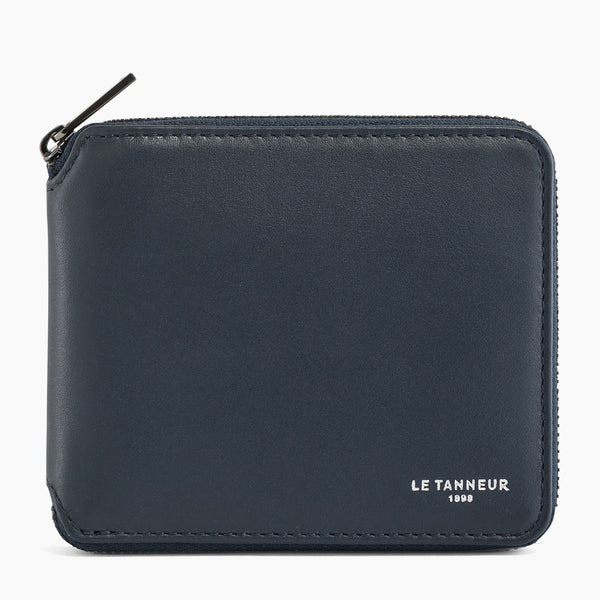 Zipped coin purse with flap pocket Quentin smooth leather - Le Tanneur
