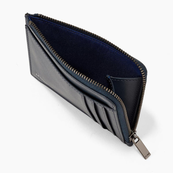 Quentin smooth leather L-shaped zip card case - Le Tanneur