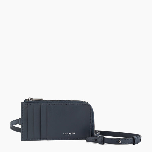 Zipped card case with Quentin smooth leather strap - Le Tanneur