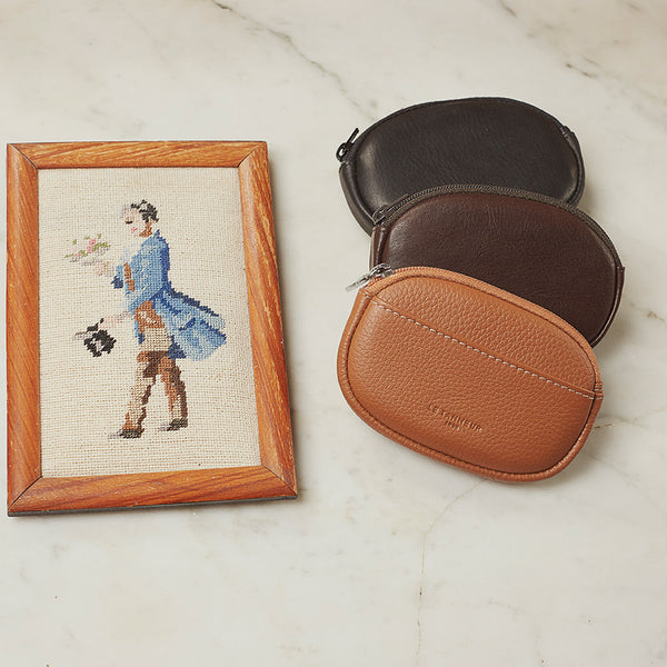 Brown oiled leather Gary zipped coin purse - Le Tanneur