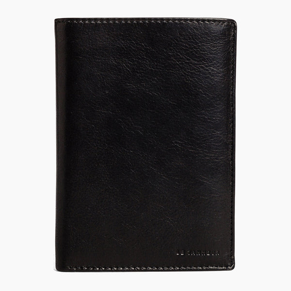 Large vertical zippered 2-panel Gary wallet in oiled leather - Le Tanneur