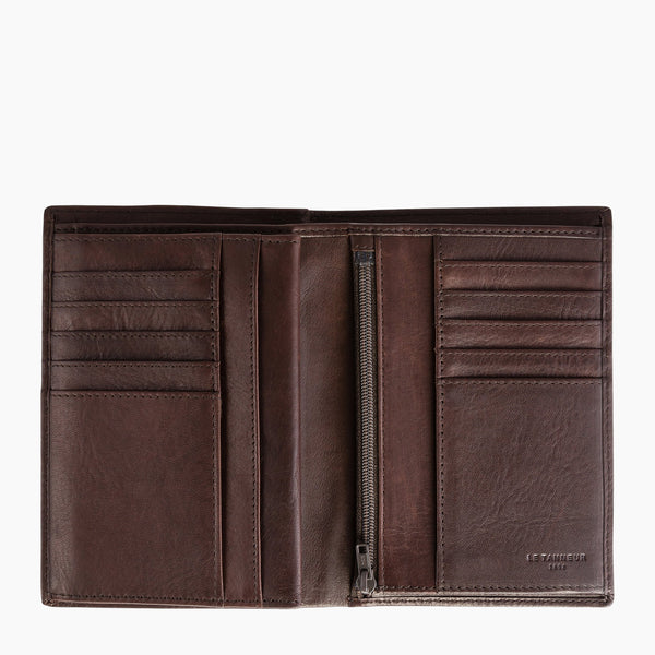 Gary's large 3-panel zipped wallet in oiled leather - Le Tanneur