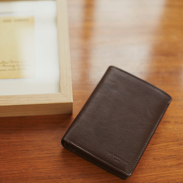 Brown oiled leather Gary card case - Le Tanneur