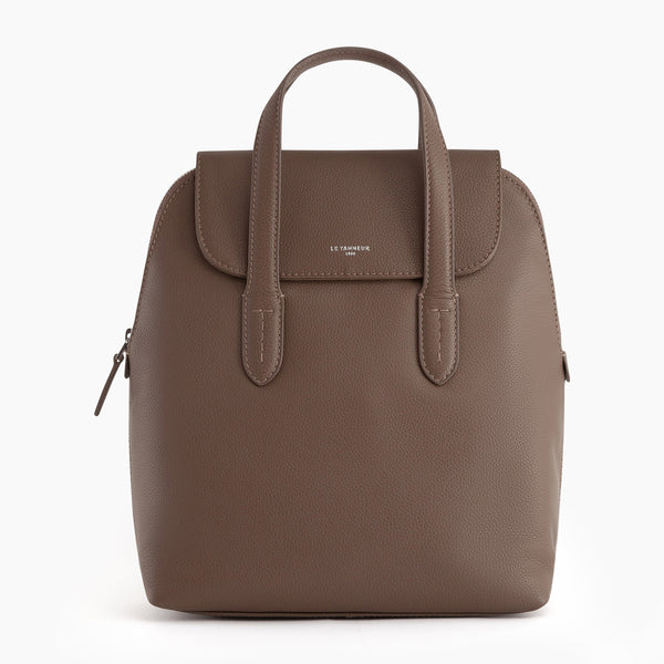 Sophie pebbled leather backpack with flap - Le Tanneur