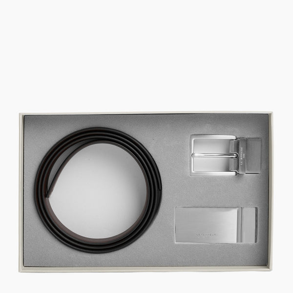 Gift box: men's belt with plate and square buckle - Le Tanneur