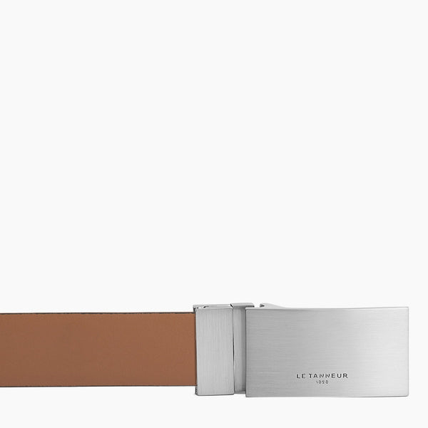 Classic men's belt with vegetable-tanned leather plate - Le Tanneur
