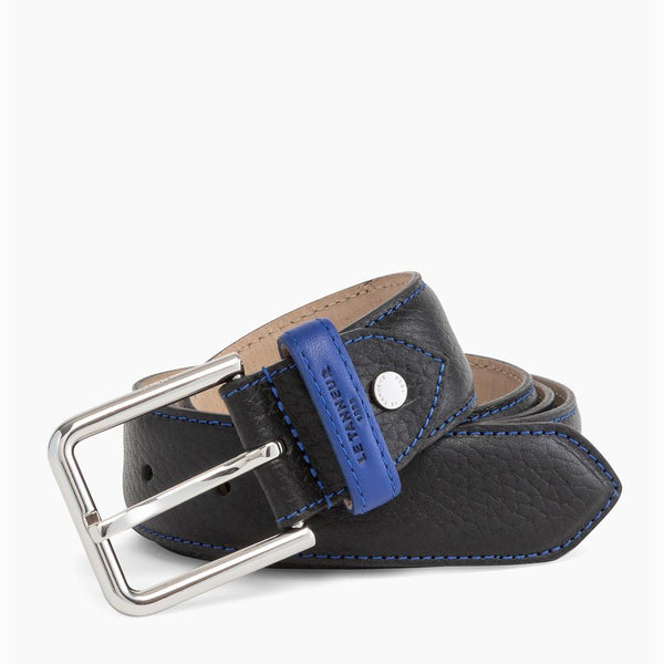 Charles black square buckle men's belt - Le Tanneur