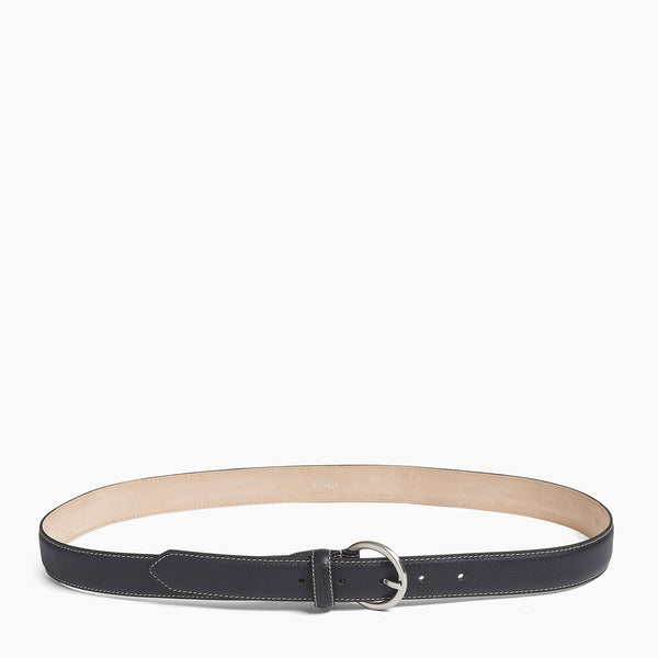 Women's belt with square buckle in vegetable-tanned leather - Le Tanneur