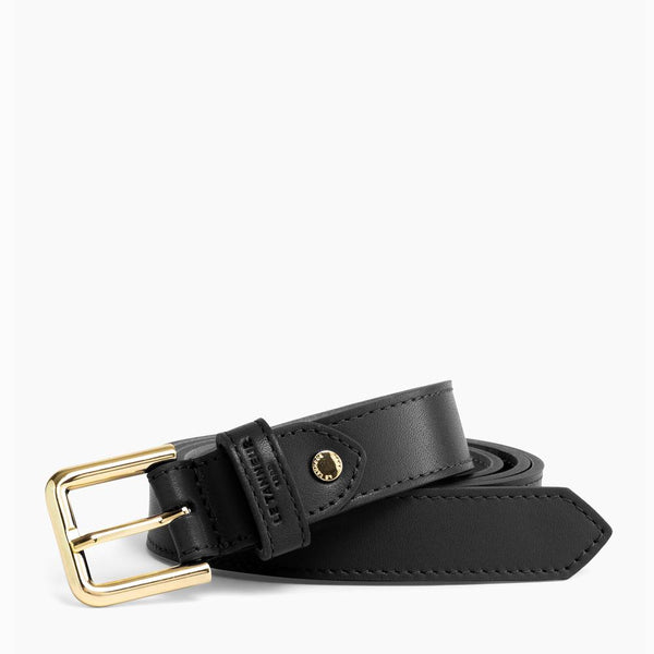 Women's belt with black round smooth leather buckle - Le Tanneur