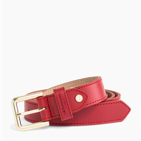 Women's belt with red round smooth leather buckle - Le Tanneur