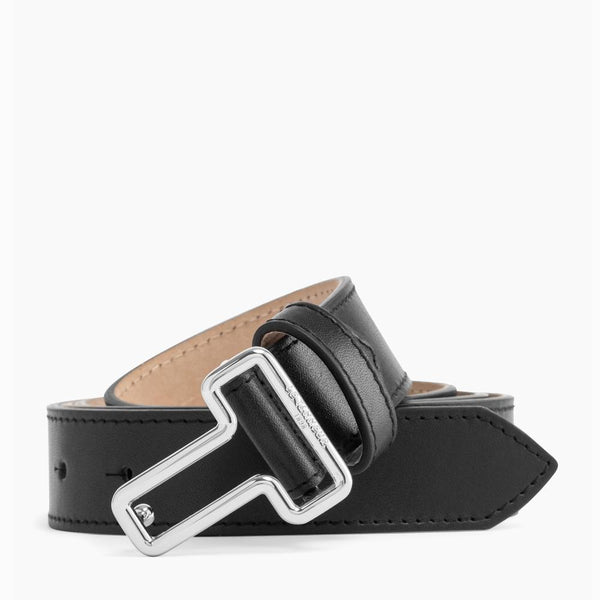 Women's belt with smooth leather black T-buckle - Le Tanneur