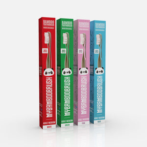 Bamboo Toothbrush UK 4 pack Eco-Friendly 4 Colours | bamboo brush