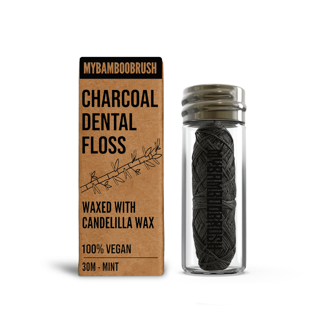 Charcoal Dental Eco Floss in glass bottle | Vegan |  Dental floss