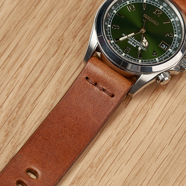 Seiko Alpinist SARB017 on the Tan Italian Leather Watch Strap by Armilla