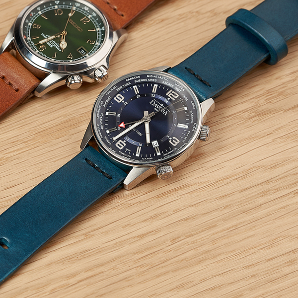 Seiko Alpinist and Davosa Vireo Dual time on Armilla leather watch straps