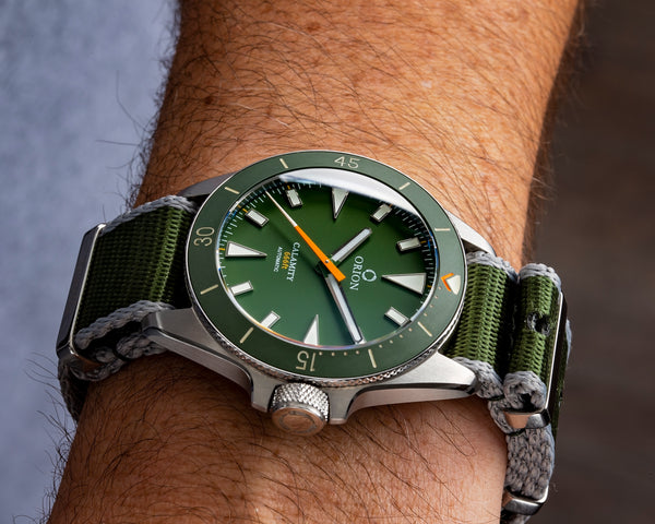 Orion Diver Watch on the Armilla Moss Green G10 NATO watch strap