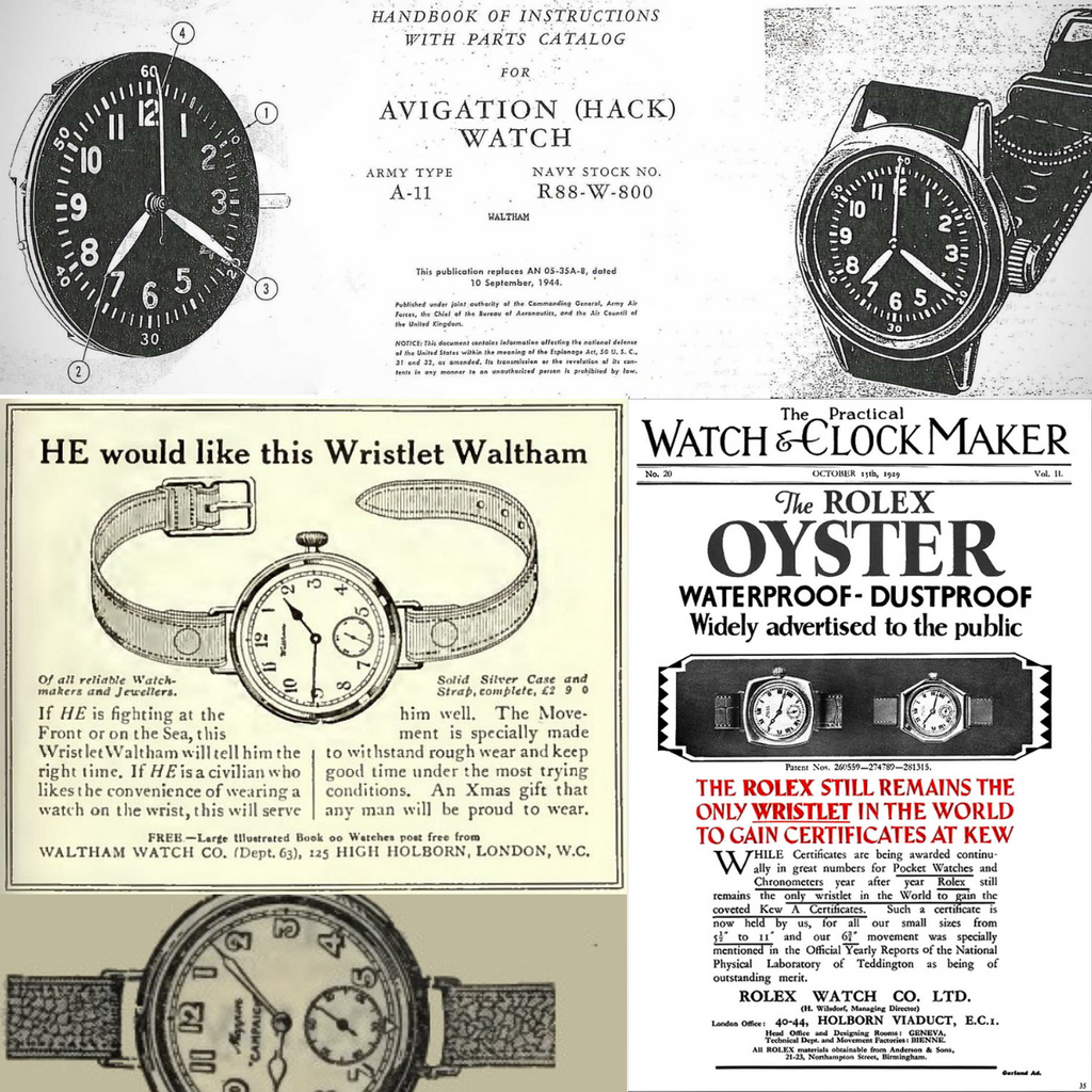 Old vintage wrist watch ads for Rolex, Waltham and Mappin & Webb watches