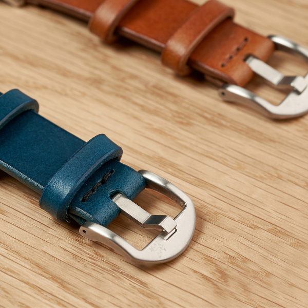 Blue and Tan Italian Leather Watch Straps by Armilla Watch Bands