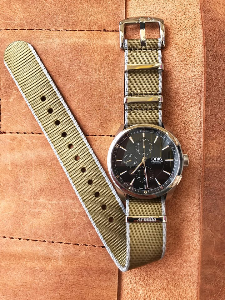 Oris Chronograph on Beige Armilla Khaki Field NATO Watch Strap / Band