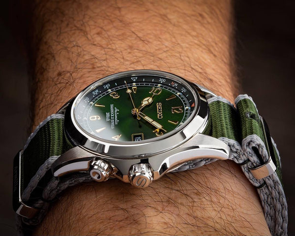 Seiko Alpinist SARB017 on the Armilla Moss Green NATO Watch Strap / Band