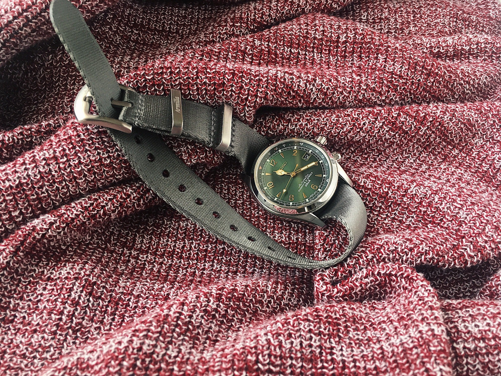 Slim Grey NATO Watch Strap by Armilla on Seiko Alpinist SARB017