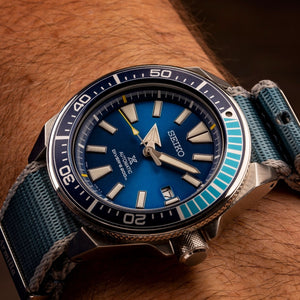 Seiko Samurai Blue Lagoon on the Armilla ICE Blue G10 NATO watch strap