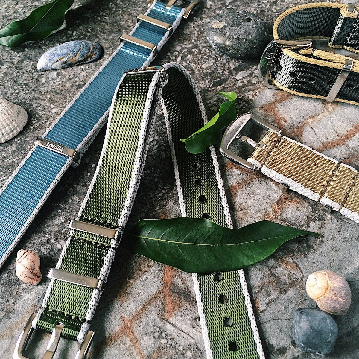 Armilla Luxury Moss Green G10  NATO Watch Strap | Aero-Ballistic Collection | Premium Seat Belt