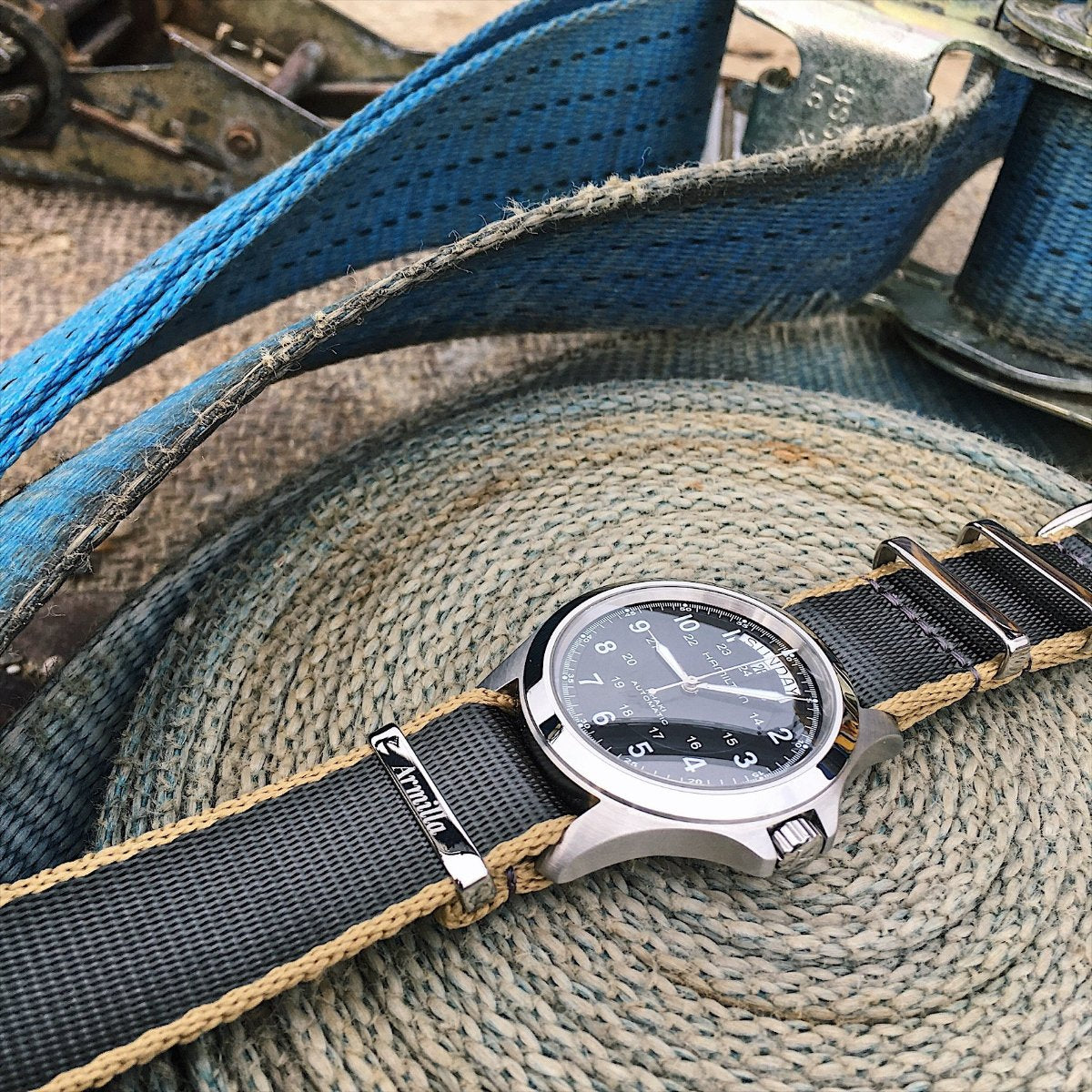 Hamilton Khaki on Armilla Grey G10 NATO Watch Strap / Band