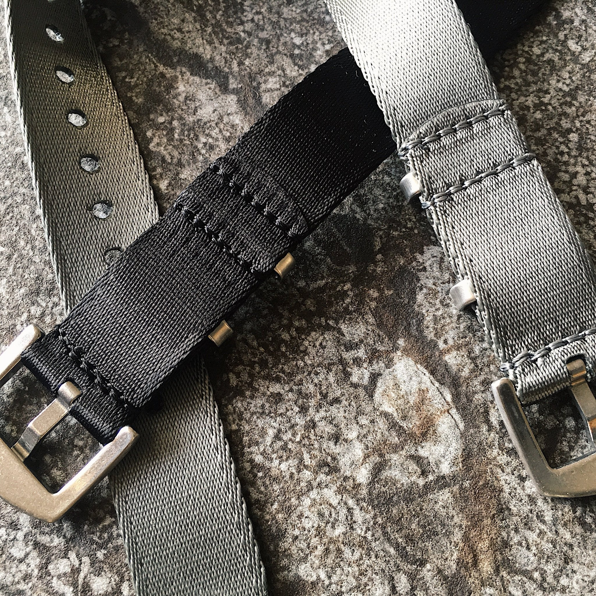 Nylon Watch Straps in black and grey by Armilla Watch Bands
