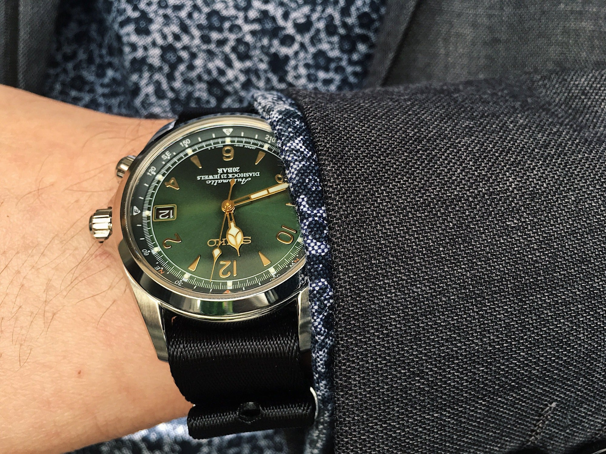 NATO Watch Strap with a suit - Seiko Alpinist