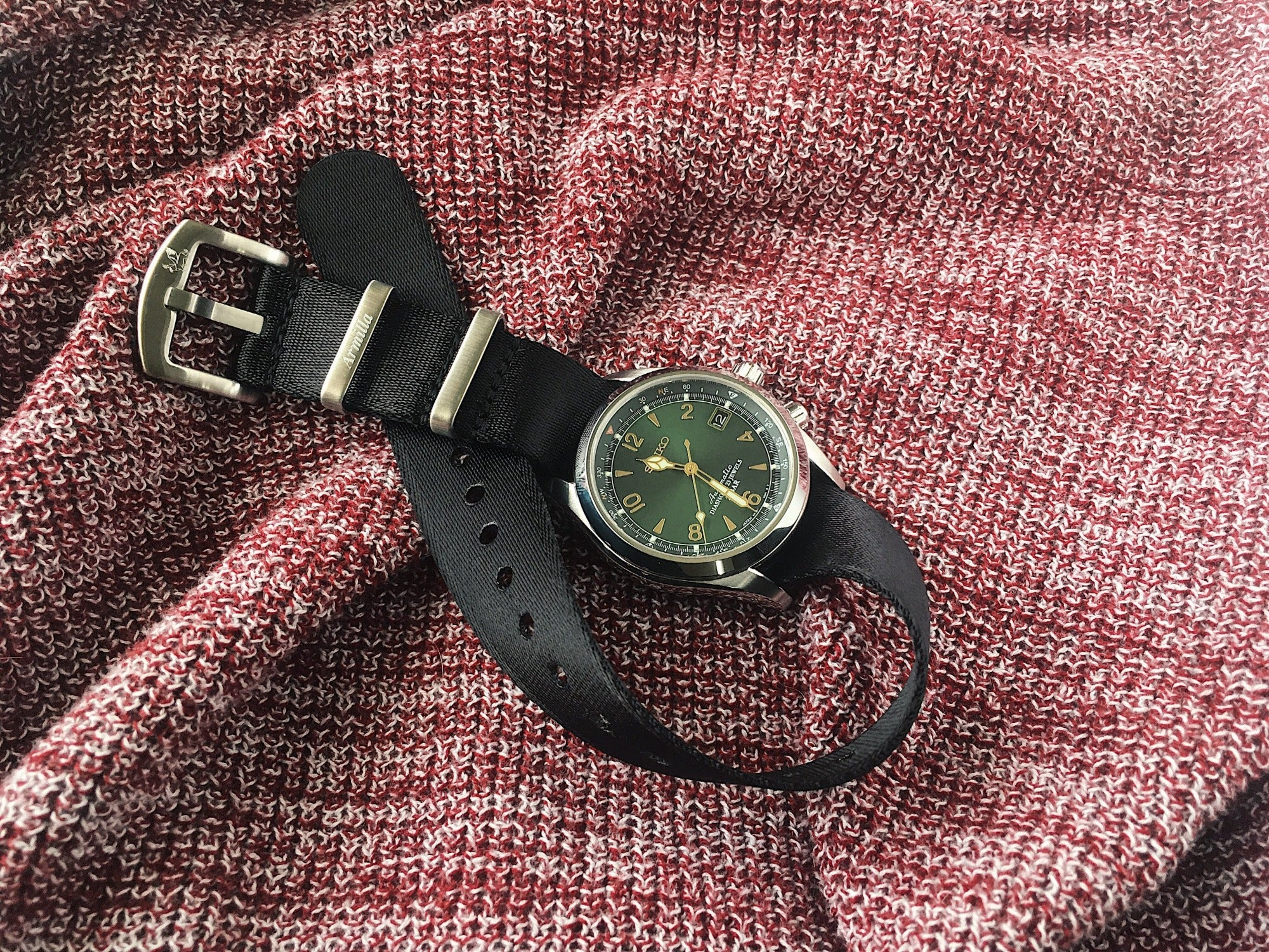 Seiko Alpinist Sarb017 on Armilla Slim Black NATO Watch Strap / Band