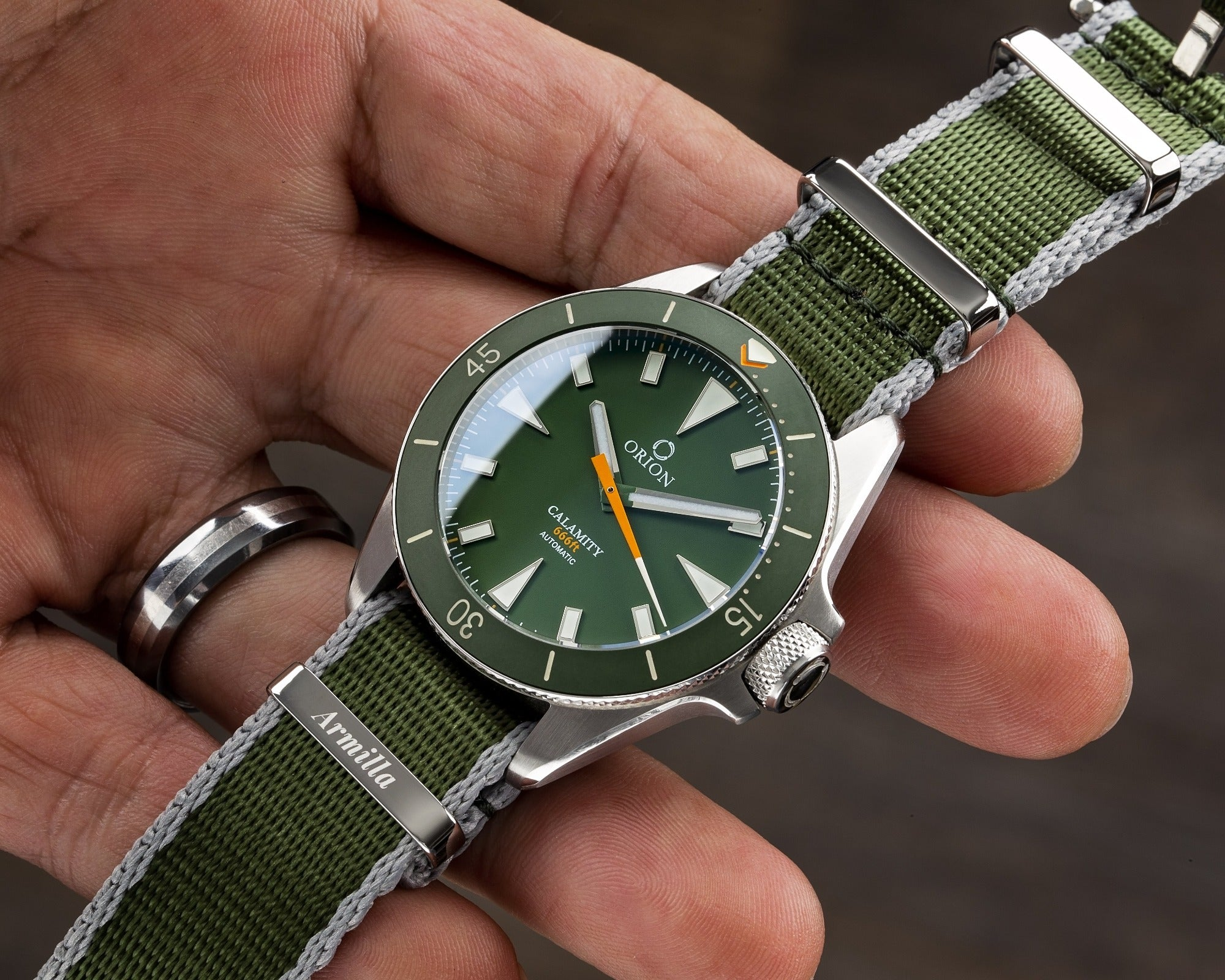 Armilla Green NATO Watch Strap / Band on Orion Drab Calamity Diver's Watch